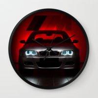 bmw Wall Clocks featuring BMW M3 by Vasco Estrelado - Photographer