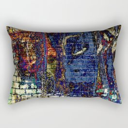 Vibrant Bold Blue Textured Fabric-Like Landscape Rectangular Pillow