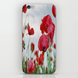 Field of Poppies Against Grey Sky iPhone Skin