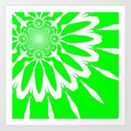 The Modern Flower Lime Green Art Print