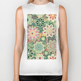 Retro kaleidoscope flower background pattern. Boho mandala ornate. Biker Tank