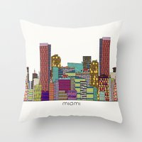hotline miami Throw Pillows featuring Miami by bri.buckley