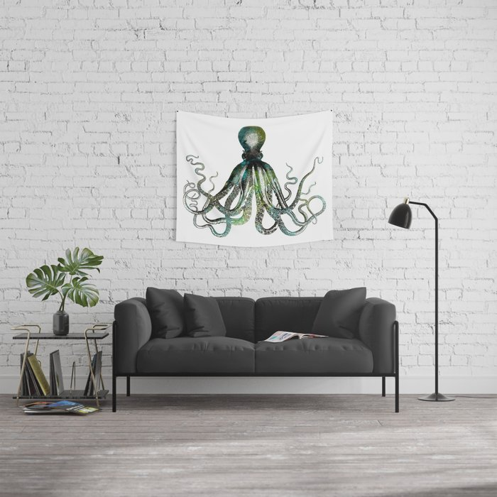 Octopus marine life watercolor art Wall Tapestry