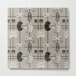 Paper Cut-Out Video Game Controllers Metal Print