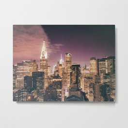 New York City - Chrysler Building Lights Metal Print