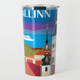 Tallinn, Estonia - Skyline Illustration by Loose Petals Travel Mug