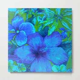 Vintage Tropical Flowers (Blue) Metal Print