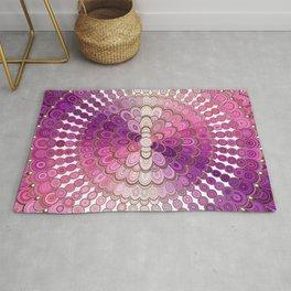 Pink and Purple Mandala Flower Rug