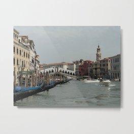 The Rialto Bridge and the Grand Canal Metal Print