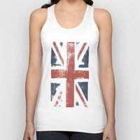 union jack Tank Tops featuring Union Jack by David Hand