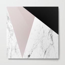 Pink, Black and Marble Geometric Metal Print