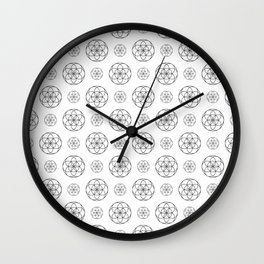 White Seed Of Life Pattern Wall Clock