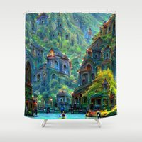 peru Shower Curtains featuring Ceti Peru by Bunny Clarke