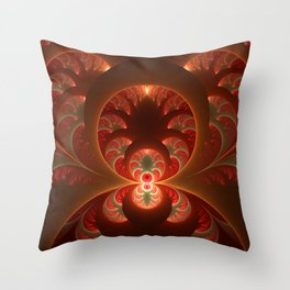 Fractal Mysterious, Warm Colors Are Shining Throw Pillow