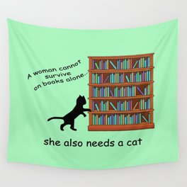 Cats and Books Wall Tapestry