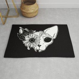 Sunflower Sphynx Skull - Hairless Cat - Creepy Kitten Rug
