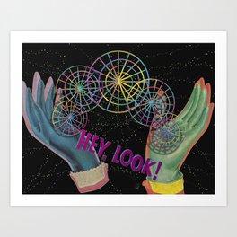 Dopedish Pan Hands- Hey Look! Rubber Gloves Digital Collage Art Print Art Print
