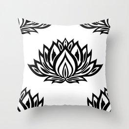Black and White Lotus Pattern Throw Pillow