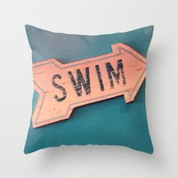 swim Throw Pillows featuring swim by Sylvia Cook Photography