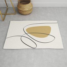 Minimal Line Art. Abstract Shapes. Boho Aesthetic. Yellow Gold. Black. Beige. Rug