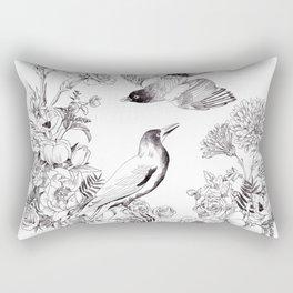 Illustrated Birds pattern Rectangular Pillow