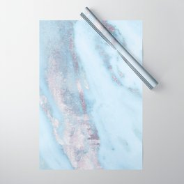 Light Blue Gray Marble Wrapping Paper