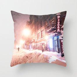 New York City Blizzard Throw Pillow