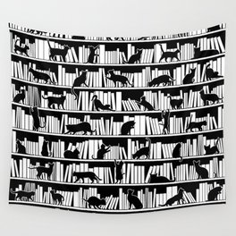 All I Need Is Books & Cats Bookish Book & Cat Lover Pattern Wall Tapestry
