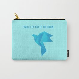 Fly Me to the Moon - Origami Blue Bird Carry-All Pouch