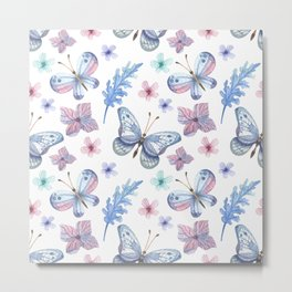 Colorful Butterfly Watercolor Seamless Pattern Metal Print