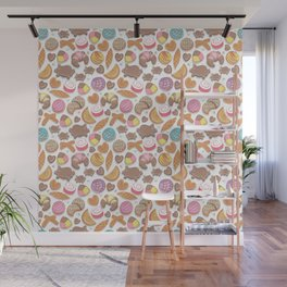 Mexican Sweet Bakery Frenzy // white background // pastel colors pan dulce Wall Mural