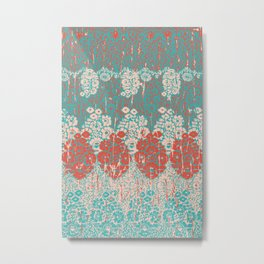 floral paisley in vermillion and teal Metal Print
