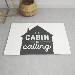 The Cabin is Calling - Chalkboard Background Rug