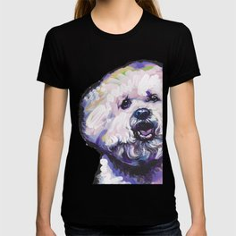 Fun BICHON Frise Portrait Dog bright colorful Pop Art Painting by LEA T-shirt