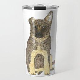 """Blue"" the German Shepherd Dog (GSD) Puppy Travel Mug"