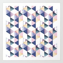 Watercolor geometric pastel colored seamless pattern Art Print