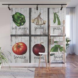 Rustic White Wood Herbs & Garden Vegetables Wall Mural