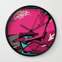 iron maiden Wall Clocks featuring IRON by clogtwo