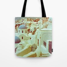 Santorini in Raspberry and Blue II: shot using Revolog 600nm special effects film Tote Bag