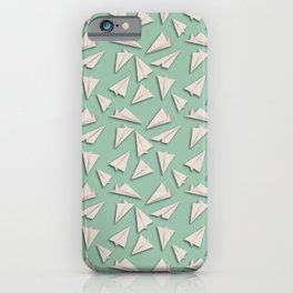 Paper Planes Pattern | White Green iPhone Case