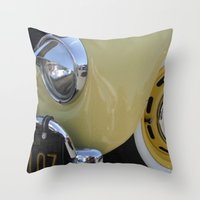 volkswagon Throw Pillows featuring Yellow Love Bug by wildVWflower