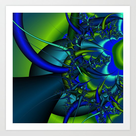 Blue  n green abstract fractal Art Print
