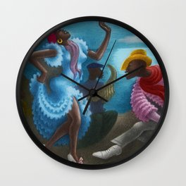 African American Masterpiece 'Rumba' Landscape Painting Wall Clock