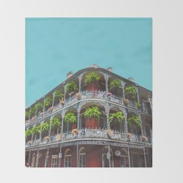 Hanging Baskets of Royal Street, New Orleans Throw Blanket