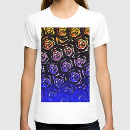 rose pattern texture abstract background in blue and red T-shirt