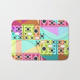 Camera pattern with colorful umbrellas Bath Mat