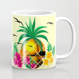 Pineapple Tropical Sunset, Palm Tree and Flowers Coffee Mug