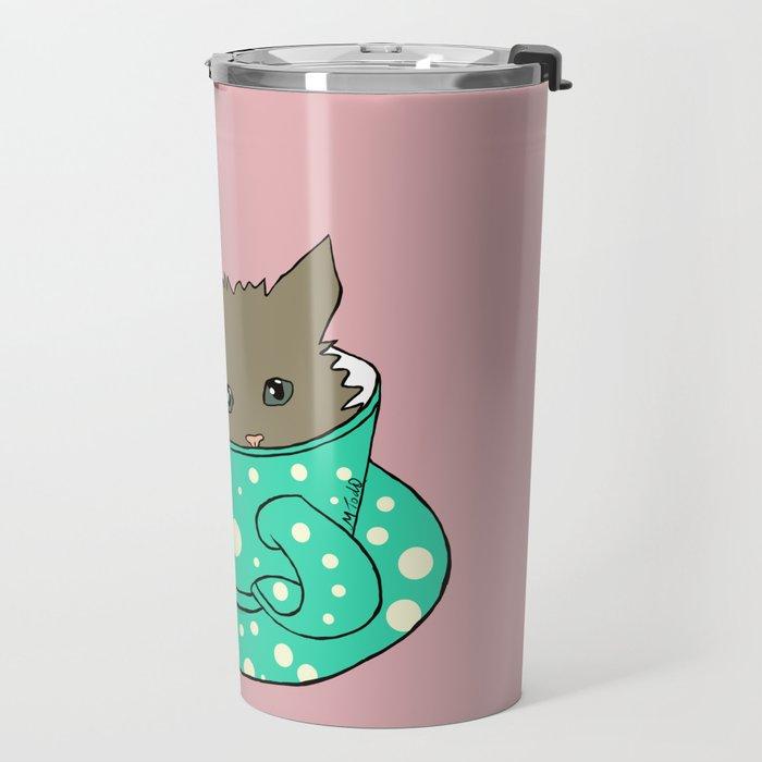 Fluffy Kitten In A Teacup Pink Background Travel Mug