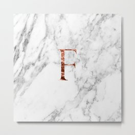 Monogram rose gold marble F Metal Print