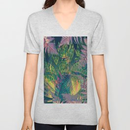 Abstract Floral Fern Tree Fairyland Unisex V-Neck